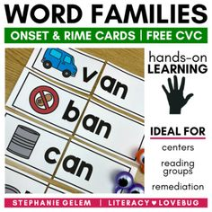 Word Family Activities, Rhyming Activities, Hands On Activities, Word Work Centers, Word Patterns, Guided Reading Groups, Word Families, Learn To Read, Teacher Resources