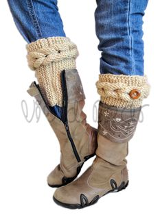 Knitted Cable Boot Cuffs. Braids with Buttons. A lot of Different colors. Leg Warmers. Boot Toppers. Fashion Accessory for Women and Teens. by VividBear on Etsy
