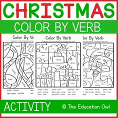 Christmas Color by Verb Christmas Colors, Winter Christmas, Christmas Themes, Christmas Printable Activities, Fun Learning, Coloring, Students