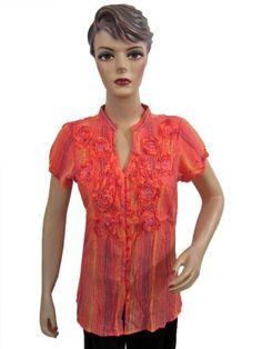 Womens Red Cotton Blouse Sequin Ruffled Boho Tops Gypsy Hippie Fashion TOP Medium Size Mogul Interior, http://www.amazon.com/gp/product/B008QVO8CQ/ref=cm_sw_r_pi_alp_Ifsmqb1FTZ82Q