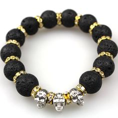 2016 New Lava Stone beads Skull Men Bracelets, Gold plated Skull