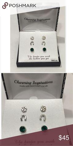 Lucky earring set Swarovski & Silver-plated Silver plated with Swarovski Crystals! 3 earring pair set. 1 horse shoe 1 clover 1 green stone. Jewelry Earrings
