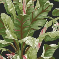 Complete your powder room or guest bath in style with this eye-catching banana leaf wallpaper, perfect for a quick DIY update.