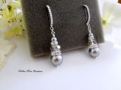 Swarovski Grey Pearl Earrings Gray Crystal Earrings Black