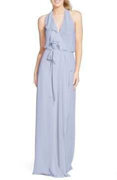 nouvelle AMSALE 'Erica' Ruffle Chiffon Halter Neck Wrap Gown available at #Nordstrom