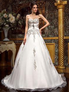 Lan Ting A-line Plus Sizes Wedding Dress - Ivory Court Train Sweetheart Chiffon - USD $229.99