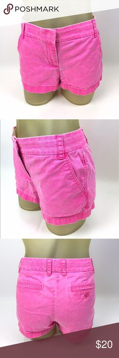 "J. Crew Cotton Chino Short 6 Neon Pink Cute and bright 100% cotton chino shorts by J. Crew. 32"" waist, 8.5"" low rise, 3"" inseam. Excellent preowned condition. A04020 J. Crew Shorts"