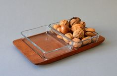 Vintage serving tray party platter dish teak by MightyVintage, €34.00  I swear my mom had something just like this when I was growing up.