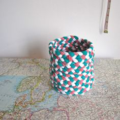 DIY Make a Basket or Container from Old T-Shirts  *(use t-shirt yarns--another DIY), upcycle, tutorial