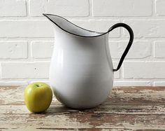 Vintage Enamelware Pitcher by ZinniaCottage on Etsy