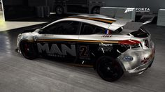A side few of the Renault Megane R26R World Rally Car featuring my own version of the MAN industries livery.