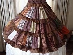 b01c9c9fc05e Brown patchwork skirt by luckycloverleaf on Etsy, $54.00 Hippie Skirts,  Bohemian Skirt, Bohemian