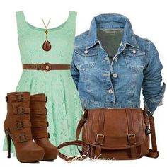 Mint green dress and denim jacket Big Fashion, Fashion Beauty, Autumn Fashion, Womens Fashion, Fashion Ideas, Sweet Fashion, Stylish Outfits, Cool Outfits, Summer Outfits
