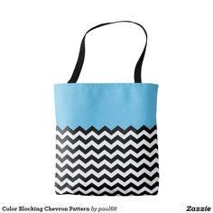 Color Blocking Chevron Pattern Tote Bag