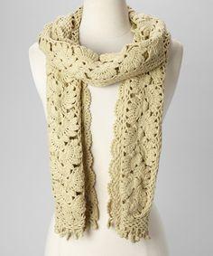 Soft Green Crocheted Scarf