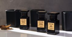 Tom Ford signature blends: Tobacco Vanille, Tuscan Leather, & Oud Wood