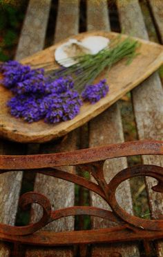 Lavender On A Bench 4 X 6 inch Signed Fine Art by gildinglilies, $10.00