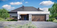 DOM.PL™ - Projekt domu CPT HomeKONCEPT-31 CE - DOM CP1-34 - gotowy koszt budowy Modern Bungalow Exterior, Modern House Facades, Dream House Exterior, Modern House Design, Home Building Design, Building A House, Bungalow Style House, House Construction Plan, Villa Design