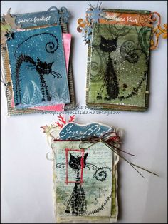 Les folies de Coco... A set of Chunky ATCs using Katzelkraft stamps