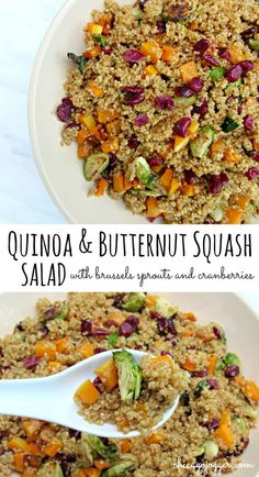 Quinoa & Butternut Squash Salad - this warm fall salad is perfect for a vegetarian dinner or upcoming Thanksgiving gathering as a side dish. This recipe includes roasted butternut squash, brussels sprouts, dried cranberries, quinoa, and Maple Dijon Vinaigrette. | chicagojogger.com
