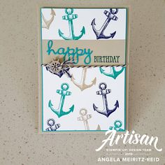 card making ideas for beginners birthday Stamping Beauty: SAILING HOME Masculine Birthday Cards, Birthday Cards For Men, Man Birthday, Masculine Cards, Nautical Cards, Stamping Up Cards, Nail Stamping, Fathers Day Cards, Up Girl
