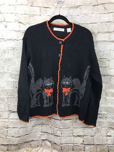Chaus Sport Black Cat Embroidered Sweater Black Large Halloween Holiday Ugly C2  | eBay