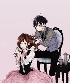 I can't help but imagine this being haruhi and kyoya. Even though I don't particularly ship them it's still super cute.