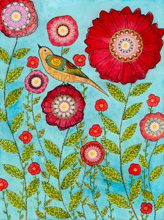 Red Flower Painting, Bird and Flower Collage Painting Art Print on Wood, Home Decor