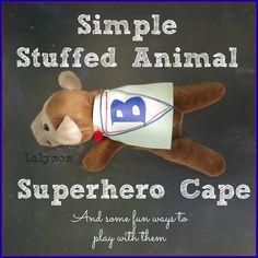 Superhero Crafts for Kids | Simple Stuffed Animal Superhero Capes for Stuffed Animals - combine with Stuffed Animal Sleepover idea