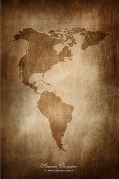 Vintage map of northern and southern americas continents