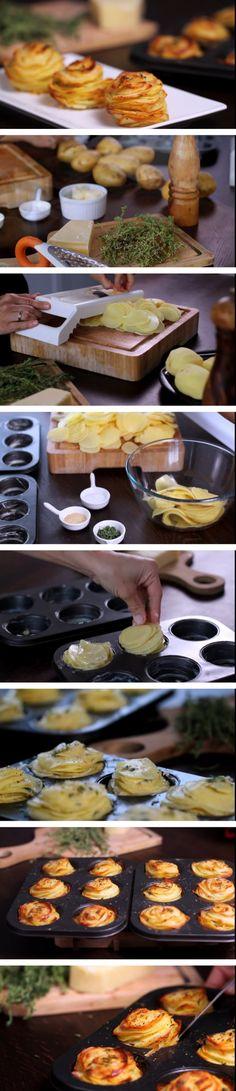 Recette de pommes de terre au parmesan – Délices de cuisine Tapas Bar, Muffins, Vegan Recipes, Veggies, Cooking, Breakfast, Desserts, Food, Polenta