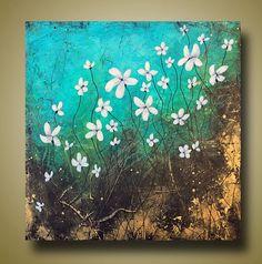 Resumen flores pintura decoración para el hogar por BrittsFineArt