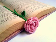 Crochet Bookmark - Pink Rose
