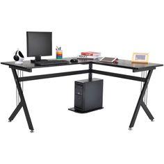 Amazon.com: Tenive Ergonomic Corner Office Computer Desk Workstation... ($81) ❤ liked on Polyvore featuring home, furniture, desks, black furniture, l shaped desk, onyx furniture, black desk and l shaped computer desk