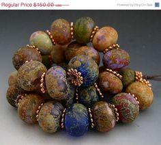 SALE Naos Glass  Roman Gardens Mega Set 30 beads  by Na0sGlass