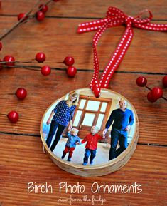 These would make gifts for grandparents DIY Birch Bark Ornaments  |  View From The Fridge