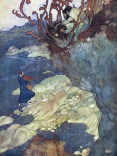 Prospero.- Here in this island we arrived. Shakespeare's Comedy of 'The Tempest' (Act I, scene II) illustrated by Edmund Dulac (1908)