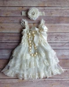 Your choice of purchasing just the dress, or the dress/headband combo. This beautiful cream lace dress would be great for many different