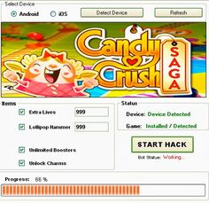 Candy Crush Saga HACK 2018 Download. Candy Crush Saga game is one of the most popular if not the Most popular Facebook game of all time. The game can be played on facebook or on any kind of Android,iOS devices.We have created a tool Called Candy Crush Saga Cheats tool and it can generate unlimited free Live,lollipops hammers and a lot of more resources.