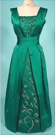 1950's Ceil Chapman Gown, jewel-tone green with beaded detail