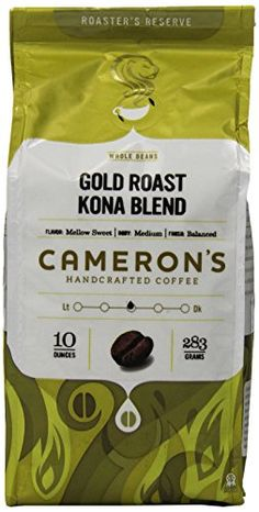 Cameron's Coffee Gold Roast Coffee, Kona Blend, Whole Bean, 10 Ounce ** Don't get left behind, see this great product