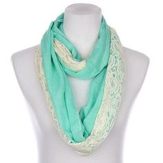 Mint Green Infinity Scarf with lace This is a beautiful sheer and woven infinity scarf. Measures 64 inches long x 22inches wide. 50% cotton 50% Viscose. Thank you for stopping by! Please as me any questions ☀️ Namaste Naturally Spiritual Accessories Scarves & Wraps