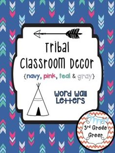 Tribal prints and patterns are all the rage right now- why not keep your classroom trendy?  This product includes two different sets of word wall letters.  Additionally, a bunting reading WORD WALL is included to display above your bulletin board.  The font used is KG Shake It Off Chunky.Like this decor theme?Check out my product of Tribal Classroom Decor Editable Banners in navy, pink, teal & gray!