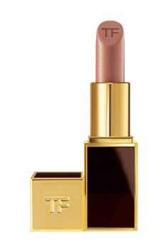 Try a browny nude Tom Ford lipstick for a natural look.