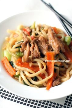Korean Style Stir-fried Udon Noodles with Chicken and Veggies -@My Korean Kitchen