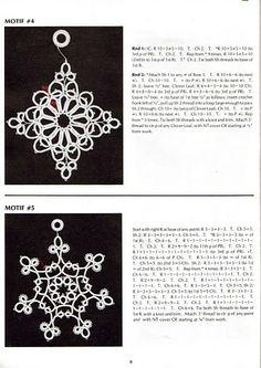 2 Motifs / Snowflakes / Medallions with written tatting pattern alongside