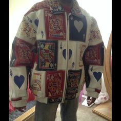 Just Lowered!!!!!!! HURRY!!!!! Leather Poker Jacket, solid white back, very well taken care of......also has a zip in and out lining, will post more pics if interested......like new......Leather Man Jackets & Coats