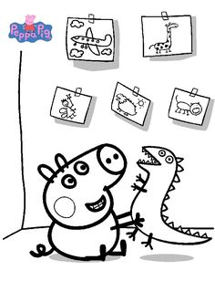 Printable Peppa Pig Coloring Pages. Have a Joy with Peppa Pig Coloring Pages. Do your children like to color pictures? If they do, the Peppa pig coloring pages Peppa Pig Coloring Pages, Family Coloring Pages, Dinosaur Coloring Pages, Cool Coloring Pages, Cartoon Coloring Pages, Christmas Coloring Pages, Coloring Books, Free Coloring, Coloring Sheets