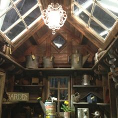Like the glass in the ceiling. Chandelier in the shed kind of fun