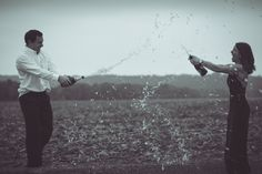 Nothing like a good champagne fight to end our engagement photos with Travis Darnell Photography!